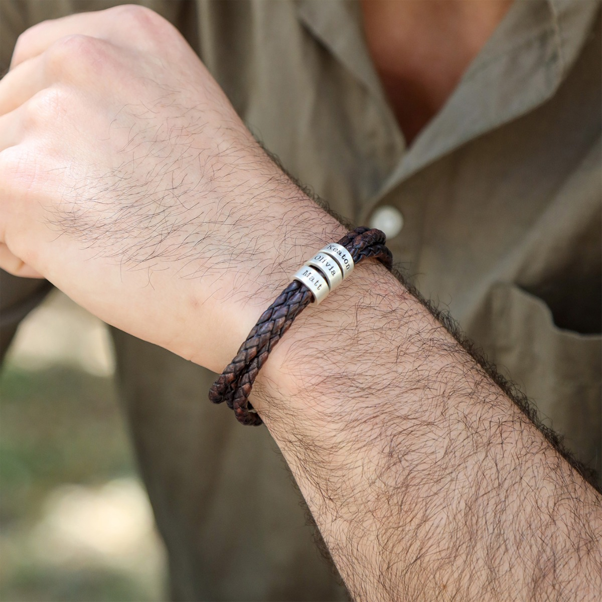 Brown Leather Bracelet With Engraved Names