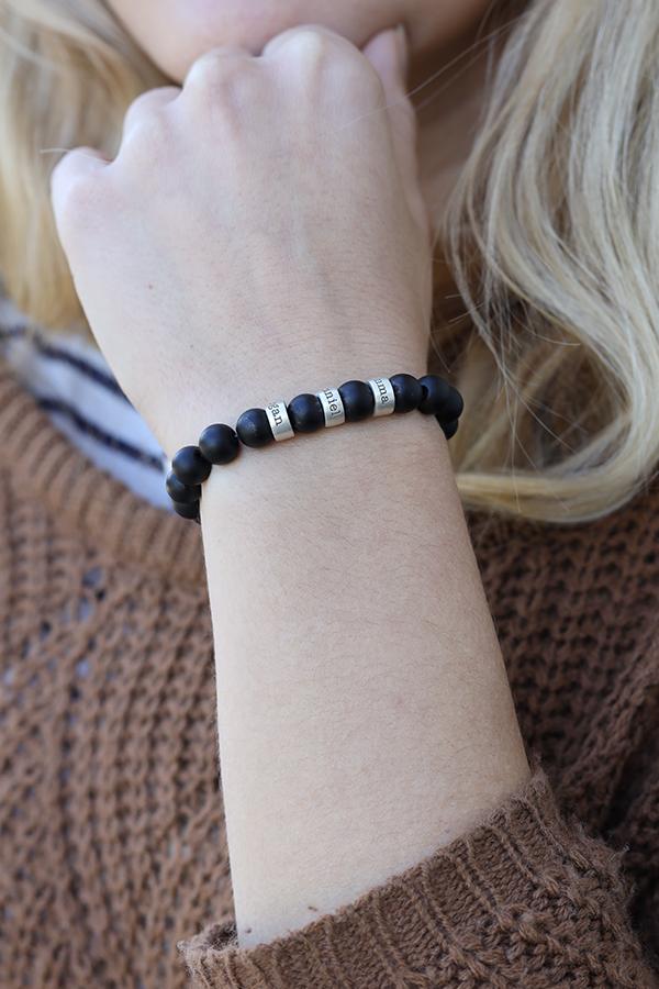 Black Onyx Engraved Spheres Bracelet for Women [Sterling Silver]