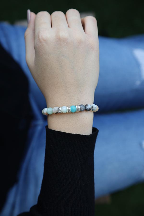 Amazonite Women Name Bracelet [Sterling Silver]